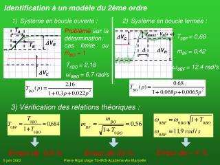 Identification à un modèle du 2ème ordre