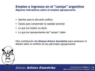 """Empleo e ingresos en el """"campo"""" argentino Algunos indicadores sobre el empleo agropecuario"""