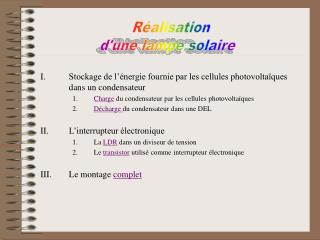 Stockage de l'énergie fournie par les cellules photovoltaïques dans un condensateur