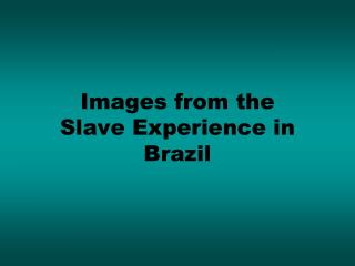 Images from the  Slave Experience in Brazil