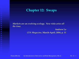 Chapter 12:  Swaps