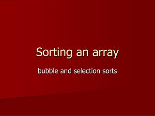 Sorting an array