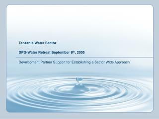 Tanzania Water Sector  DPG-Water Retreat September 8 th , 2005
