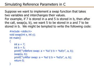 Simulating Reference Parameters in C