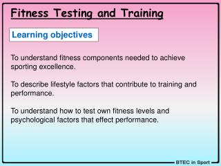 Fitness Testing and Training