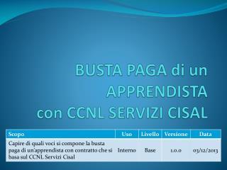 BUSTA PAGA di un APPRENDISTA  con CCNL SERVIZI CISAL