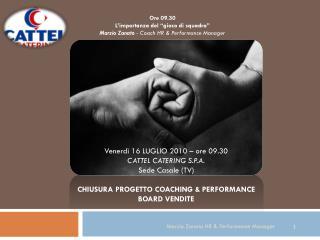 """Ore 09.30 L'importanza del """"gioco di squadra"""" Marzio Zanato  - Coach HR & Performance Manager"""