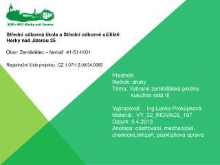 Předmět:  Ročník: druhý Téma:Vybrané zemědělské plodiny kukuřice setá III
