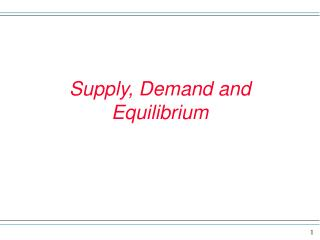Supply, Demand and Equilibrium