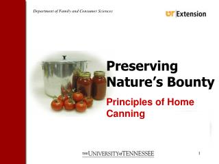 Preserving Nature�s Bounty