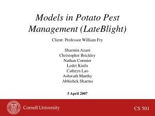 Models in Potato Pest Management (LateBlight)