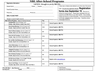 NBE After-School Programs   Fall 2014 –Brought to you by NBE PTA