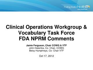 CO WG and VTF