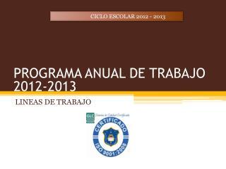 PROGRAMA ANUAL DE TRABAJO 2012-2013