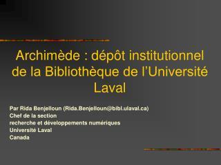 Archimède : dépôt institutionnel de la Bibliothèque de l'Université Laval