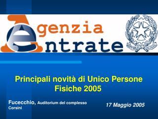 Principali novità di Unico Persone Fisiche 2005