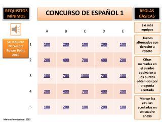 CONCURSO DE  ESPA ÑOL 1