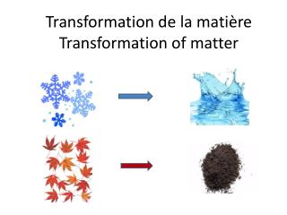 Transformation de la mati�re Transformation of matter