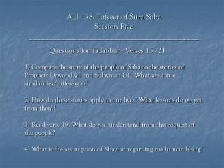 ALI 138: Tafseer of Sura Saba Session Five __________________________________________