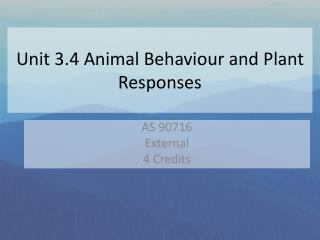 Unit 3.4 Animal Behaviour and Plant Responses