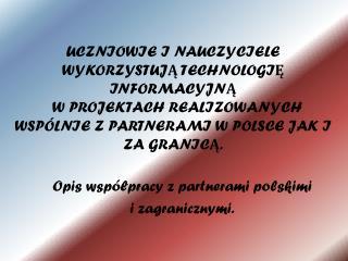 Opis współpracy z partnerami polskimi  i zagranicznymi.
