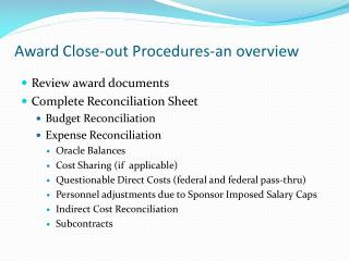 Award Close-out Procedures-an overview