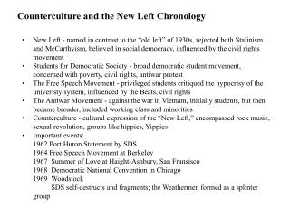 Counterculture and the New Left Chronology