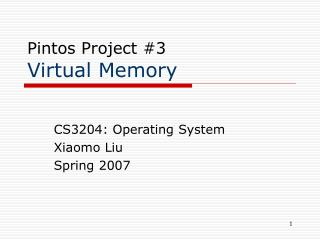 Pintos Project 3  Virtual Memory