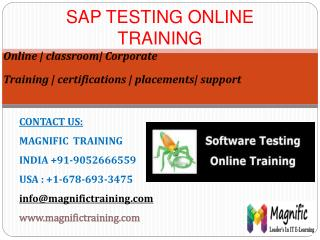 SAP TESTING ONLINE TRAINING IN HYDERABAD
