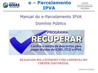 Manual do e-Parcelamento IPVA Domínio Público