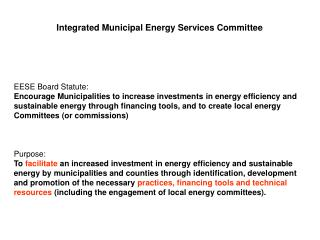 Integrated Municipal Energy Services Committee
