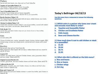 Today's  Bellringer 04 /19/ 13