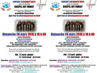 CONCERT SOL IDARIT É  HAITI avec la chorale  GOSPEL JOY FAMILY