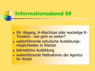 Informationsabend S9
