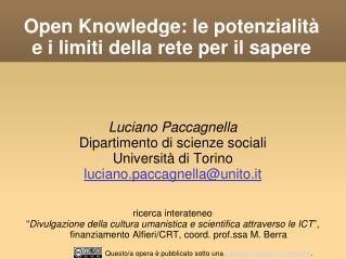 Open Knowledge: le potenzialità e i limiti della rete per il sapere