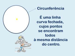 Circunferência É uma linha  curva fechada,  cujos pontos  se encontram  todos  à mesma distância
