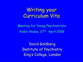 Writing your Curriculum Vita