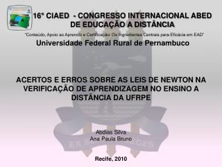 16° CIAED - CONGRESSO INTERNACIONAL ABED DE EDUCAÇÃO A DISTÂNCIA