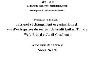 ISCAE 2010 Master de recherche en management Management des connaissance s