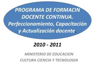 MINISTERIO DE EDUCACION  CULTURA CIENCIA Y TECNOLOGIA