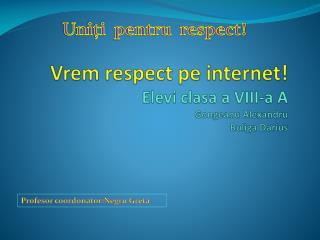 Vrem  respect  pe  internet ! Elevi clasa  a VII I -a A Gongeanu Alexandru Buliga  Darius