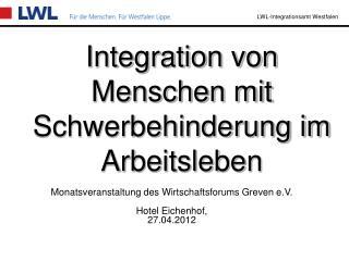 Integration von Menschen mit Schwerbehinderung im Arbeitsleben