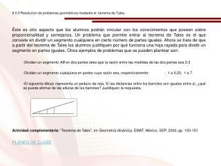 9.3.3 Resolución de problemas geométricos mediante el  teorema de Tales.