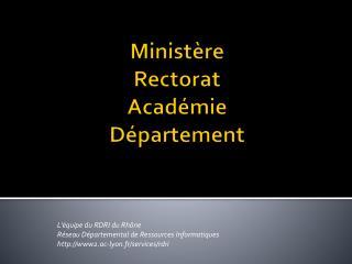Ministère Rectorat Académie Département