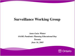 Surveillance Working Group