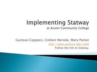 Implementing  Statway at Austin Community College