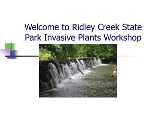 Welcome to Ridley Creek State Park Invasive Plants Workshop
