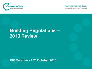 Building Regulations –  2013 Review