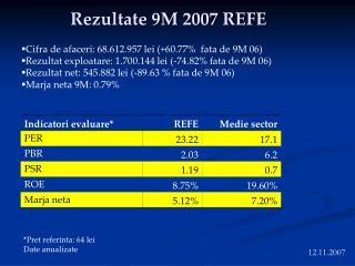 Rezultate 9M 2007 REFE
