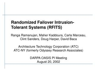 Randomized Failover Intrusion-Tolerant Systems RFITS